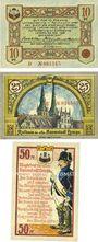 Banknoten Lemgo, Stadt, série de 3 billets, 10 pf, 25 pf, 50 pf 25.5.1921