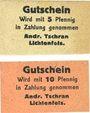 Banknoten Lichtenfels a. Main, Andr. Tschran, billets, 5 pf, 10 pf