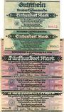 Banknoten Liebenwerda, Kreis, billets, 100 mk sans série + série C, 500 mk sans série (2ex)+ série B 16.9.1922