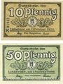 Banknoten Lieberose, Stadt, billets, 10 pf 15.2.1920, 50 pf 1.10.1920