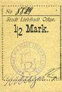 Banknoten Liebstadt (Wilczkowo, Pologne). Stadt. Billet. 1/2 mark (1916-1922)