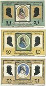 Banknoten Lilienthal, Sparkasse, billets,  25 pf, 50 pf, 75 pf 15.5.1921, série H
