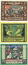 Banknoten Lippspringe, Bad, Stadt, série de 3 billets, 25 pf, 50 pf, 75 pf 28.5.1921
