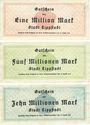 Banknoten Lippstadt, Stadt, billets, 1, 5, 10 millions mark 14.8.1923