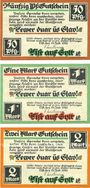 Banknoten List / Stylt, Gemeinde, série de 3 billets, 50 pf, 1 mark, 2 mark 21.7.1921