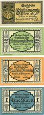 Banknoten Löbejun, Stadt, billets, 25 pf 10.4.1920, 25 pf, 50 pf, 1 mark 25.2.1921
