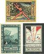 Banknoten Lorch, Stadt, série de 3 billets, 25 pf; 50 pf (2 ex) 15.6.1921