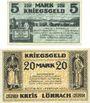 Banknoten Lörrach, Mülheim, Schopfheim, Schönau, Kreis, Amtsbezirke; billets, 5 mark, 20 mark 1.11.1918