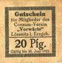 Banknoten Lössnitz i. Erzgeb., Consum- Verein Vorwärts, billet, 20 pf n. d. - 30.6.1921