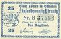 Banknoten Löwen, Stadt, billet, 25 pf 21.5.1920, avec Guschein au lieu de Gutschein