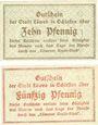 Banknoten Löwen, Stadt, billets, 10 pf, 50 pf 21.5.1920