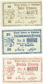 Banknoten Löwen, Stadt, série de 3 billets, 10 pf, 25 pf, 50 pf 21.5.1920