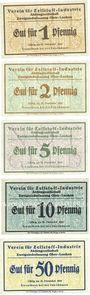 Banknoten Ober-Leschen (Leszno Gorne, Pologne), Verein für Zellstoff-Industrie, billets, 1, 2, 5, 10, 50 pf nd
