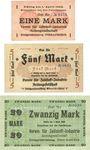 Banknoten Ober-Leschen (Leszno Gorne, Pologne), Verein für Zellstoff-Industrie, billets, 1, 5, 20 mark n.d.
