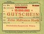 Banknoten Witten, Chemins de fer, Travaux généraux, billet, 10 millions mark 10.08.1923 série Sa