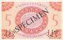 Banknoten Afrique Equatoriale Française Caisse Centrale de la France  d'Outre Mer, 5 F type 1943 SPECIMEN