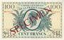 Banknoten Afrique Equatoriale Française Caisse Centrale de la France Libre billet 100 F  type 1941 SPECIMEN