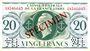 Banknoten Afrique Equatoriale Française Caisse Centrale de la France Libre billet 20 francs type 1941 SPECIMEN