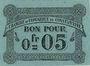 Banknoten Algérie. Chambre de Commerce de Constantine. Billet. 0,05 franc 12.10.1915