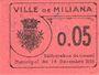Banknoten Algérie. Ville de Miliana. Billet. 5 centimes 14.12.1916