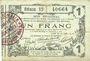 Banknoten Aisne, Ardennes et Marne - Bon régional. Laon. Billet. 1 franc 16.6.1916, série 1