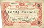 Banknoten Aisne, Ardennes et Marne - Bon régional. Laon. Billet. 5 francs 16.6.1916, série 3