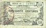 Banknoten Aisne, Ardennes et Marne - Bon régional. Laon. Billet. 50 cmes 16.6.1916, série 14