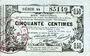 Banknoten Aisne, Ardennes et Marne - Bon régional. Laon. Billet. 50 cmes 16.6.1916, série 44