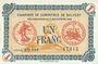 Banknoten Alsace-Lorraine. Billets émis par la Chambre de Commerce de Belfort. 1 franc 4.11.1918