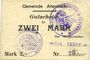 Banknoten Altenbach (68). Commune. Billet toilé. 2 mk (1914), cachets allemand et français, signé Feder & Kern