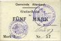 Banknoten Altenbach (68). Commune. Billet toilé. 5 mark (1914), cachets allemand et français, signé Feder