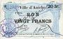 Banknoten Aniche (59). Ville. Billet. 20 francs 1915, 2e série