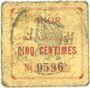 Banknoten Anor (59). Commune. Billet. 5 cmes, numéro à 4 chiffres