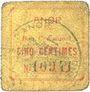 Banknoten Anor (59). Commune. Billet. 5 cmes, numéro à 5 chiffres