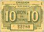 Banknoten Avesnes (59). Emission Garantie par les Communes de l'Arrondissement. Billet. 10 cmes sept 1915