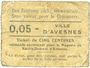 Banknoten Avesnes (59). Magasin de ravitallement. Billet. 5 cmes n. d.