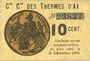 Banknoten Ax (09). Cie Gle des Thermes d'Ax. Billet. 10 cmes 1918