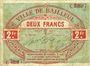 Banknoten Bailleul (59). Ville. Billet. 2 francs août 1914