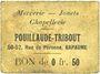 Banknoten Bapaume (62). Pouillaude-Tribout. Mercerie - jouets - chapellerie. Billet. 0,50 franc, carton