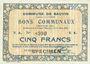 Banknoten Bauvin (59). Commune. Billet. 5 francs 11.3.1915, SPECIMEN