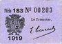 Banknoten Cadillac (33). Syndicat du Commerce. Billet. 10 cmes 1918, série 183