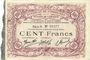 Banknoten Cambrai (59). Syndicat de Communes de la Région de Cambrai. Billet. 100 francs 10.5.1916, série B