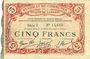 Banknoten Cambrai (59). Syndicat de Communes de la Région de Cambrai. Billet. 5 francs 10.5.1916, série I