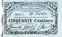 Banknoten Cambrai (59). Syndicat de Communes de la Région de Cambrai. Billet. 50 cmes 10.5.1916, série C