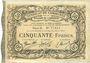 Banknoten Cambrai (59). Syndicat de Communes de la Région de Cambrai. Billet. 50 francs 10.5.1916, série B