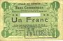 Banknoten Carvin (62). Ville. Billet. 1 franc 15.1.1915, Avec numéro découpé et cachet MUSTER (fantaisie(?)