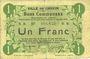 Banknoten Carvin (62). Ville. Billet. 1 franc 15.1.1915