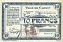 Banknoten Carvin (62). Ville. Billet. 10 francs 15.1.1915, série C, spécimen sans numérotation
