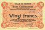 Banknoten Carvin (62). Ville. Billet. 20 francs 15.1.1915, essai uniface
