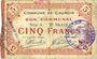 Banknoten Cauroir (59). Commune. Billet. 5 francs 16.12.1915, série A